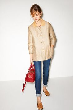 Sandro - red bag, coat and loafers