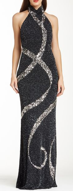Theia Allover Sequin Halter Gown