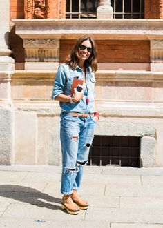 Womenswear Street Style. Viviana Volpicella wearing double denim before Missoni show. Photography by Ángel Robles.  Fashion Photography from Milan Fashion Week.
