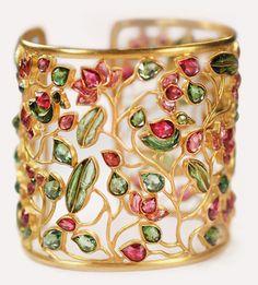 22k gold, pink & green tourmaline cuff bracelet // munnu the gem palace