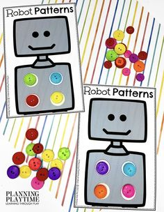 Such a FUN way to work on Matching Colors & Patterns!! - Robot Morning Tubs