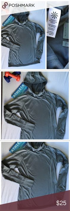 Athleta Plush Tech Hoodie Size Small Gray Item #138249 in great condition. Thumb loops on the cuffs. Super cozy, sporty, yet flattering. Athleta workout hoodies mix the best of both worlds. Athleta takes premium fabrics that are ultra soft and super comfy and craft them into on-trend styles that flatter your figure so you can easily adjust your workout wear as you break a sweat. Athleta Tops Sweatshirts & Hoodies