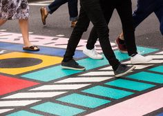 Working with a specialist road markings company, Camille Walala has applied her trademark bold colours and shapes to a pedestrian crossing in London.