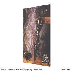 Metal Dice with Phurba Dagger Canvas Print