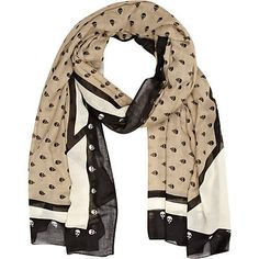 Beige and black skull print scarf - scarves - accessories - women