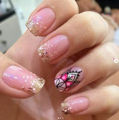 Uñas Classy Nail Designs, Beautiful Nail Designs, Nail Art Designs, Gorgeous Nails, Love Nails, Pretty Nails, Mandala Nails, Trendy Nail Art, Manicure E Pedicure