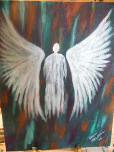abstract angel acrylic painting