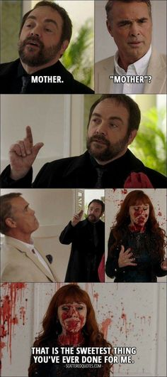 14 Best Supernatural Quotes from 'LOTUS' – Crowley (to Rowena): Mother. (Crowley blows Louis into pieces) Rowena: That is the sweetest thing you've ever done for me. - 14 Best Supernatural Quotes from 'LOTUS' Best Supernatural Quotes, Supernatural Season 12, Supernatural Bloopers, Supernatural Tumblr, Supernatural Tattoo, Supernatural Pictures, Supernatural Imagines, Supernatural Wallpaper, Supernatural Impala