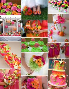 Your color story choosing your wedding colors exclusively pink orange and green theme i love it green wedding themeswedding junglespirit Images