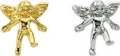 Amazon.com: 14K Yellow or White Gold Angel Lapel Pin 11mm x 10mm (White Gold): Jewelry