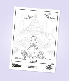 Celebrate with Disney: Sofia the First party ideas. Sofia the First and Friends Colouring Page.