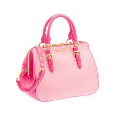 a754090fb1b7 Miu Miu RL0058 2A11 F0OGR Madras Bicolore Top Handle – Pink Pink Handbags