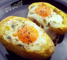 pečené brambory s vejcem a čedarem Multicooker, Foodies, Potatoes, Eggs, Chicken, Breakfast, Healthy, Morning Coffee, Potato