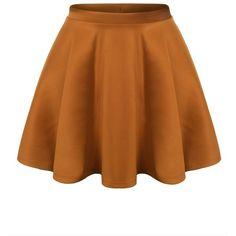 URBANCLEO Womens Solid Versatile Stretchy Flared Skater Skirt OLIVE... ($15) ❤ liked on Polyvore featuring skirts, olive skirt, skater skirt, circle skirt, flared hem skirt and flare skirt