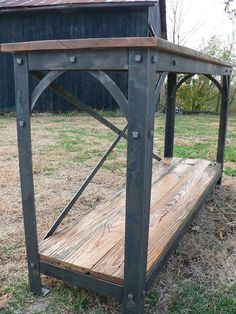 Hand Crafted Rustic Barn wood Hall Table - could use rivets instead of square bolts