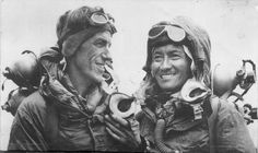 Edmund Hillary and sherpa Tenzig Norgay after being the first to reach the summit of Mount Everest, May 29th, 1953