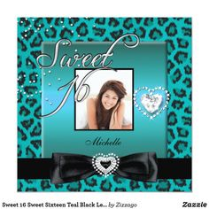 Sweet 16 Sweet Sixteen Teal Black Leopard Photo Card Sweet 16 Sweet Sixteen Teal Blue Black Leopard Cheetah Animal Print Silver Photo 16th Birthday Party Invitations All Occasion Invite Add Photo invitation All Occasions birthday invites