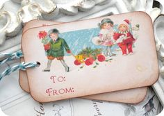 #favorTags Vintage Christmas Winter Kids Gift Tags - Set of 6 - Cottage Shabby Chic  shabby chic cottage vintage favor tag christmas vintage christmas shabby christmas christmas decoration rustic christmas christmas tag baked goods christmas gift tag winter wonderland LittlePaperFarmhouse 4.50 USD