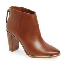 """Ted Baker London 'Lorca 3' Leather Bootie, 3 1/2"""" heel ($240) ❤ liked on Polyvore featuring shoes, boots, ankle booties, ankle boots, dark tan leather, short leather boots, genuine leather boots, leather ankle booties, short boots and ted baker boots"""