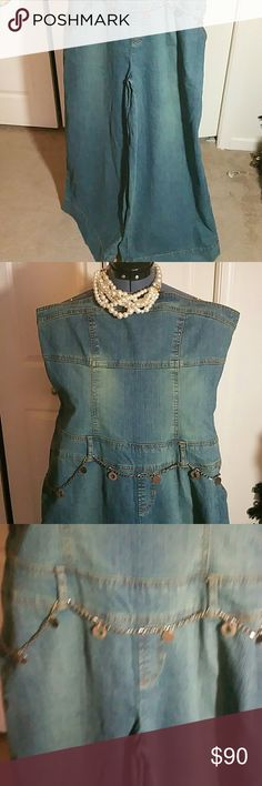 NWOT Curvy Size Jean Romper (Size 18) NWOT Sleeveless Jean Romper...... Size 18.....    Stretchable Vintage Jean Romper...NWOT  From top to hem measures 52 inches.....bust measures 29 inches......waist measures 21 inches. ..inseam 31 inches. ..pants let width measures 16 inches.....13 inch zipper  I Love Reasonable Offers! Jamle Nicole Pants Jumpsuits & Rompers
