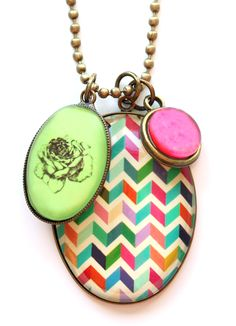 Pink & Green Geo Necklace www.cloudninecreative.co.nz