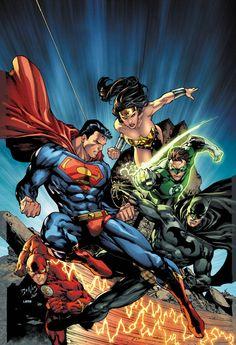 Justice League - Superman - Wonder Woman - Hal Jordan - Green Lantern - Barry Allen - Flash - Batman - Cover - Visit to grab an amazing super hero shirt now on sale! Arte Dc Comics, Marvel Comics, Marvel Dc, Dc Universe Online, Comics Universe, Comic Art, Comic Books Art, Comic Poster, Book Art