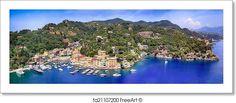 """Panorama of portofino on the italian riviera"" - Art Print from FreeArt.com"