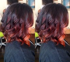 black to red ombre bob