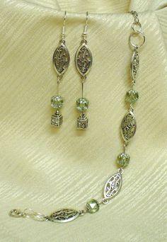 Ezüst és zöld színű szett * Silver and green Charmed, Drop Earrings, Bracelets, Jewelry, Jewerly, Jewlery, Schmuck, Drop Earring, Jewels