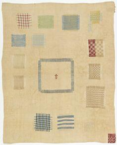 darning sampler | silk embroidery: running pattern darning + cross stitch on linen plain weave | Netherlands | 1711
