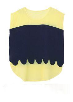 Yellow Blue Cotton Scallop Edge Layer Chiffon Curved Hem Blouse