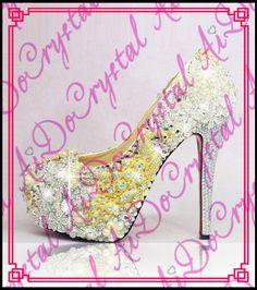 Aidocrystal Luxury series Fashion diamond Platform Pumps Women Shoes with Women  wedding shoes white crystal pearl bridal shoes 643dc70b4e4f