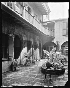 New Orleans courtyard in the 1930s. #CheatOnGreek #Contest