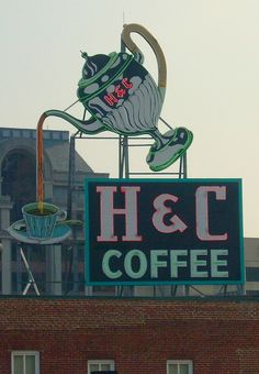 cafe brian ferry by molly wizenberg Paris Vintage Coffee Sign This is near my house in Virginia! Old Neon Signs, Vintage Neon Signs, Old Signs, Vintage Coffee Signs, I Love Coffee, Coffee Time, Roadside Attractions, Street Signs, Shabby
