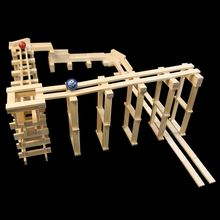 """Young thinkers can build unbelievable ball track structures with this simple stacking plank system. Create ramps, funnels, chutes and crazy contraptions like the """"Black Hole"""" and """"Bounce Plate."""" Then find out if the ball rolls as expected. Fostering unlimited creativity and experimentation, KEVA planks build an early understanding of proportion and balance, while teaching basic principles of physics and engineering. No glue, no connectors-just loads of constructive fun! Includes 200…"""
