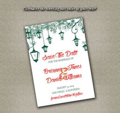 DIY Printable Wedding Save The Date PDF - Wedding Lanterns in Canopy Teal Blue on Etsy, $12.00