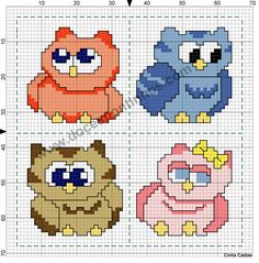 Cross Stitch. Owls
