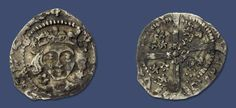 Edward IV Irish penny, sun & roses coinage, Dublin mint, Spink 6393.  Obverse: facing bust within beaded circle, legend surrounds. Sun & rose alternating at crown & neck.  Reverse: Small rose at centre of cross, rose & 2 suns in alternate quarters, sun & 2 roses in other two quarters. [CIVI] TAS DV[B LIN].  Some good details for this issue, struck on an under-sized flan as usual, scarce. Reverse slightly double struck.  Weight: 0.41g, Diameter: 14.8mm