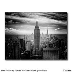 New York City skyline black and white Postcard