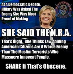 Let's take away all the guns from the Secret Service and security around her...then put her in the middle of a mtg at the local VFW where they were having a NRA rally...talk your way outa' that one killery !!!!