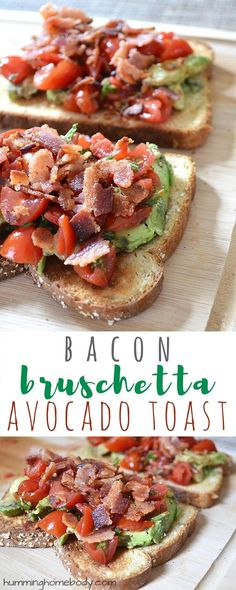 Bacon bruschetta avocado toast is a delicious spin on avocado toast that makes a great snack or light lunch recipe. Avocado, tomato, basil, and bacon!