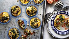 Spinach-Feta Mini Frittatas are the perfect on-the-go breakfast. Get the easy recipe here. Protein Breakfast, Make Ahead Breakfast, Breakfast Items, Breakfast Recipes, Nutritious Meals, Healthy Meals, Healthy Life, Easy Meals, Healthy Recipes