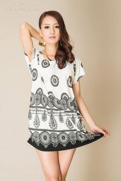 Simple Round-Neck Short Sleeve Circle Print Short Day Dress, Round-Neck