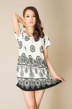 Simple Round-Neck Short Sleeve Circle Print Short Day Dress, Short