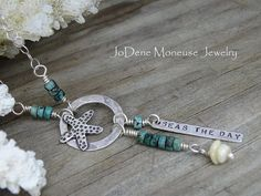 "Starfish necklace, ""Seas the day"", hand fabricated in sterling silver, turquoise and sea shells by JoDeneMoneuseJewelry"