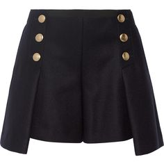 Sacai Sacai Luck wool-felt shorts ($1,025) ❤ liked on Polyvore featuring shorts, sacai, skirts, purple, navy shorts, slim fit shorts, wool shorts and navy blue shorts