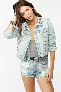 Nasty Gal x MINKPINK Studded Denim Jacket