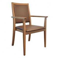 La Valeria est un nouveau modèle Acomodo. La chaise est toujours très confortable. Au lignes droites, il est facile de l'intégrer dans un intérieur contemporain.  Elle reprend l'ensemble des critères ergonomiques d'une chaise adaptée aux besoins des seniors.  Son revêtement en simili cuir Chocolat habille chaleureusement le bois de hêtre. Elle est également disponible en couleur Nuage.