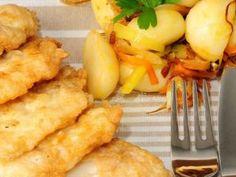 Pescado frito con verduras