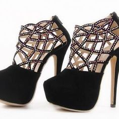 Luxury Diamond Design Black Shoes